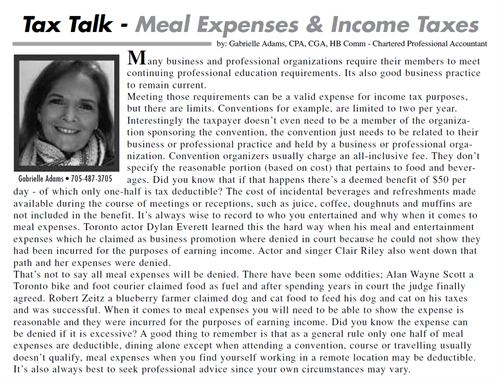 Tax Talk Meal Expenses