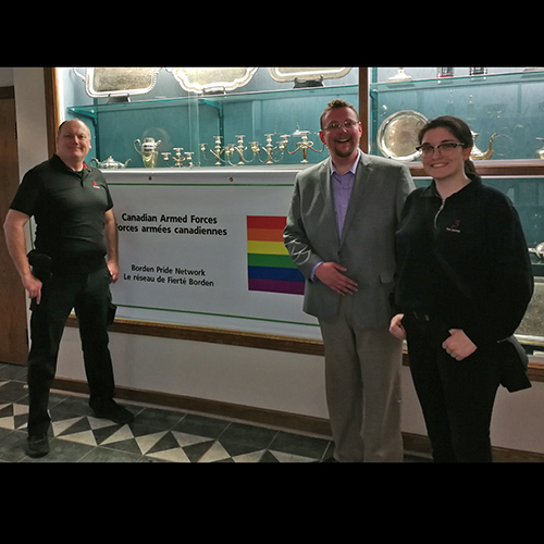 Standing with Barrie Pride and the Borden Pride Network at a base event in 2019