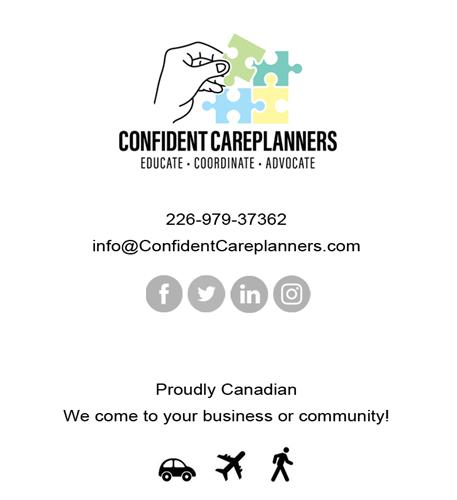 Confident Careplanners Inc - Find us online & we come to you!