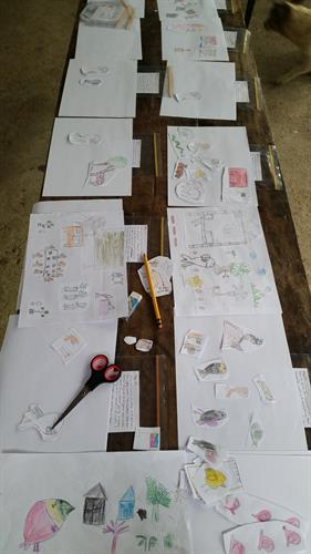 Every bug, every tree, every cloud was drawn by a different child all within the same school, each illustration contains drawings by multiple Children. No two books are the same.
