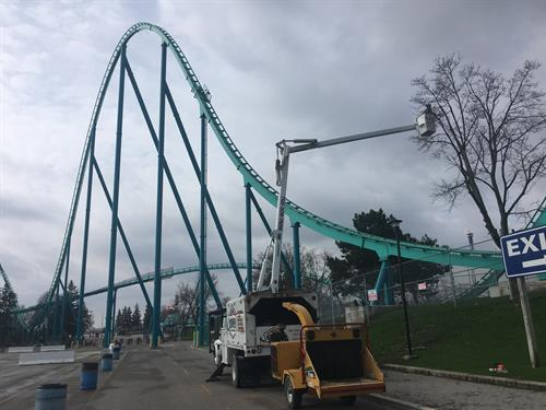 Annual maintenance at Canada's Wonderland in Vaughan, Ontario.