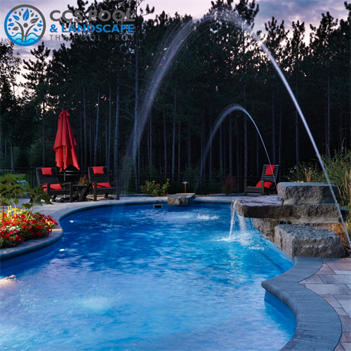 Fiberglass Pool with Water Features