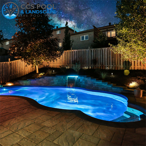 Steel & Vinyl Pool with Retaining Wall & Gardens
