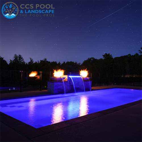 Modern Fiberglass Pool with Water Feature and Firebowls