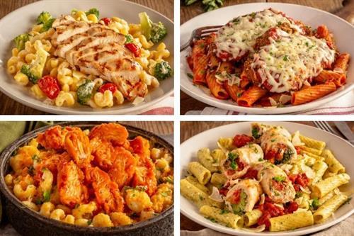 Chicken & Broccoli Alfredo, Romano Crusted Chicken Parm, Buffalo Mac & Cheese, Chicken Spinoccoli.