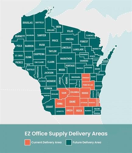 EZ Office Products Delivery Zones Highlighted in Orange