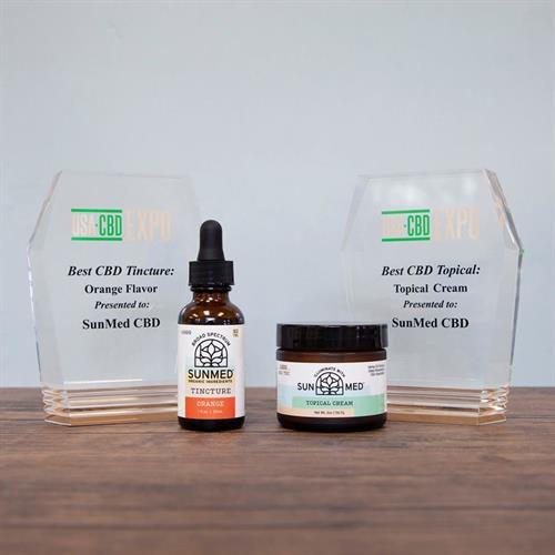 We won Best CBD Orage Tincture and Best Topical Cream