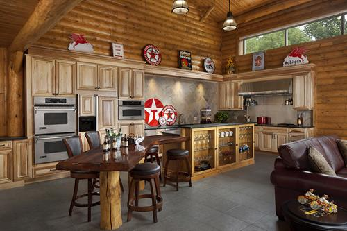 Rustic kitchen with plenty of counter space for preparing and drop down table for meals.