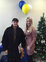 Branch Manager, Carolyn Reou, with one of our lucky winners from our grand opening!
