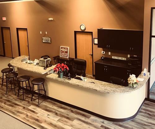KFit Studios reception area w/ coffee bar