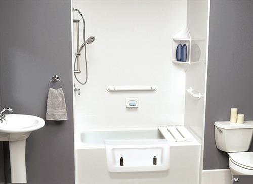 Safe-way step is an affordable way to make things as safe as a walk in shower, while keeping it a tub for re-sale