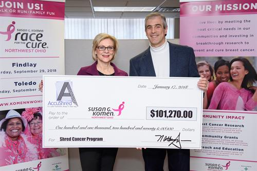 AccuShred's ShredCancer Program surpasses $100,000.00!!!