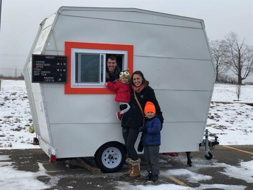 "Our Family, First day serving coffee with the ""Mobile Mini"" trailer."
