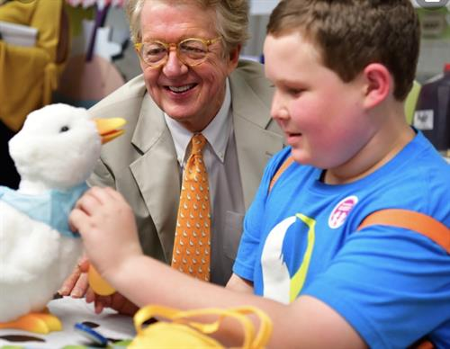 Robotic Duck invented by Aflac to assist children in coping with the pains of Cancer
