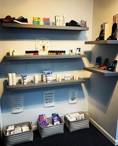 We sell a variety of goodies like Urea-42 Cream, NeuRx, Orthotics, Pumi Bars, Nail Polish, Biofreeze, and more!