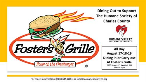 Dining Out to Support the Animals At Fosters Grille-August 17-18-19 All Day