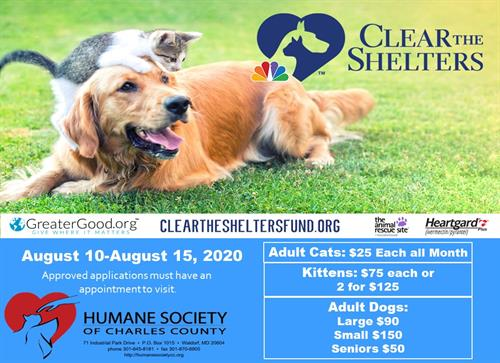 #2020Cleartheshelters Adoption Fee Specials August 10-15, 2020