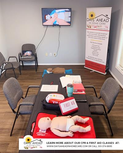 CPR Class set up for a social distancing skills session