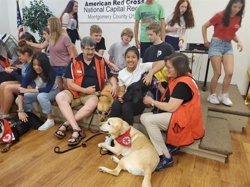Red Cross therapy dogs visit youth!
