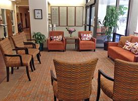 Comfortable chairs and sofas create a warm welcome for families and friends of our patients and residents.