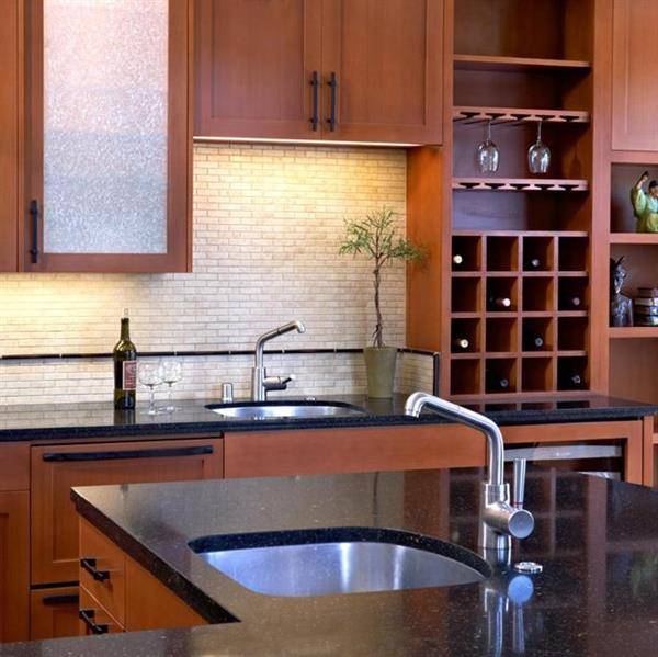Portola Valley Asian-influenced kitchen for a well traveled couple