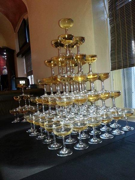 Bay Area Bartenders can accommodate special requests - such as this beautiful champagne tower built by two of our talented team members.