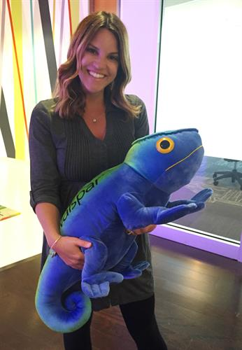 We designed this over-sized stuffed chameleon for Valspar.