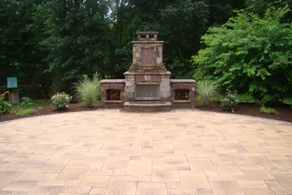 Unilock Paver patio, outdoor fireplace