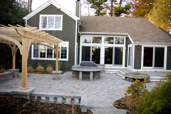 New Castle; Unilock Paver patio, granite stone, pergola