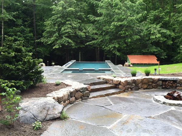 Exeter Property; Goshen Stone Patio, blue stone pool cap,