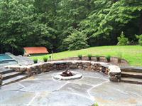 Exeter Property; hand chiseled granite fire pit