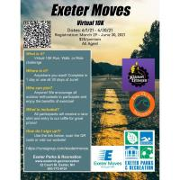Exeter Parks & Recreation Dept - Virtual 10K ''Exeter Moves'' Race is 4 Weeks Away!   Sign Up TODAY!