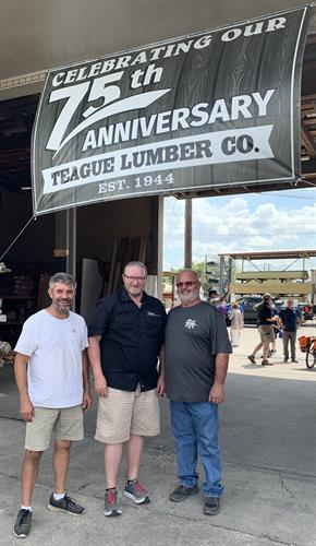 Shawn and Justin with Paul Teague, part owner of Teague Lumber Co. in Ft. Worth