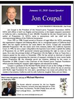 Jan 15, 2018-Special Guest Speaker, Jon Coupal