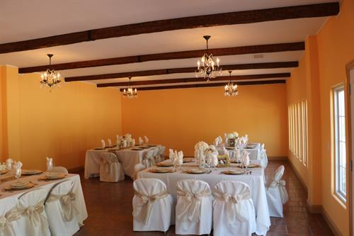 Our reception hall decorated for a wedding reception.