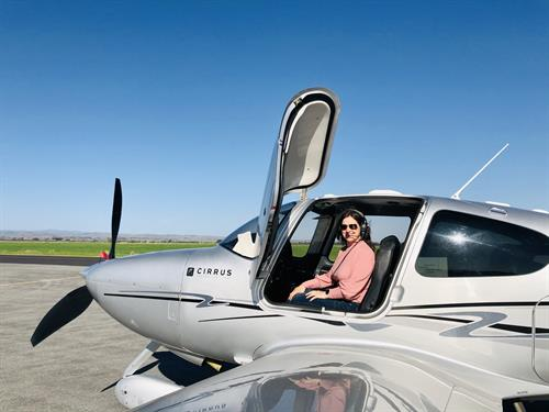 Take off in our sleek Cirrus SR-22 3-passenger aircraft