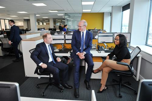 2.	An Tánaiste, Simon Coveney, pictured with new recruits Gloria Ramasia and Robert Graham at the Cork office of Accountancy Firm Crowleys DFK celebrating their announcement of 40 new jobs.