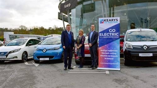Bill Keary, Chairman Kearys Motor Group, Paula Cogan, President, Cork Chamber of Commerce and Conor Healy, CEO Cork Chamber of Commerce at the launch of Kearys Motor Group's announcement of sponosrship of the Cork Chamber of Commerce Dinner 2020. Kearys Motor Group has a strong sustainability message for 2020 with Ireland's largest range of electric vehicles. see www.kearys.ie/goelectric