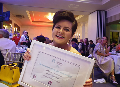 Ciara Crossan awarded Highly commended at the Network Ireland Awards having won Cork Business Women of the Year 2019