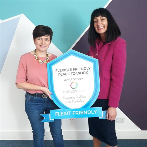 WeddingDates accepting their Flexit Badge for being a flexible place to work
