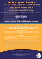 ABLE4School Leaders – How and why relationships matter in schools. New training programme for school leaders!