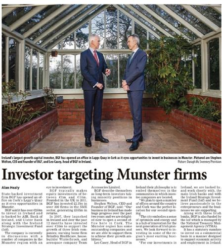 Coverage of BGF Cork Office Launch in the Irish Examiner