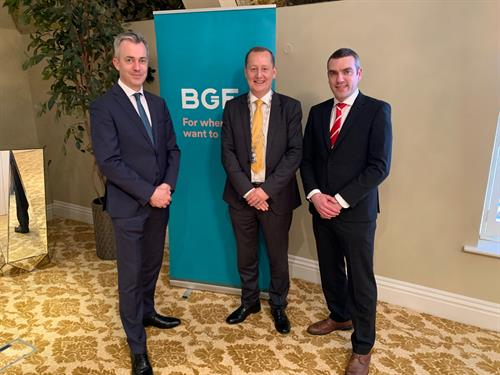 Deputy President of Cork Chamber Ronan Murray at BGF Cork Office Launch with Leo Casey, Head of  Rep of Ireland & Joe Higgins, Investor