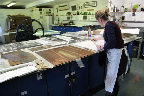 Working in the etching studio