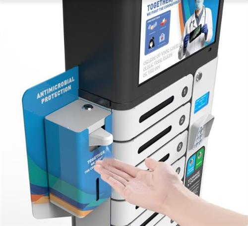 """UV 14"""" Mobile Charging Station with Contactless Hand Dispenser"""