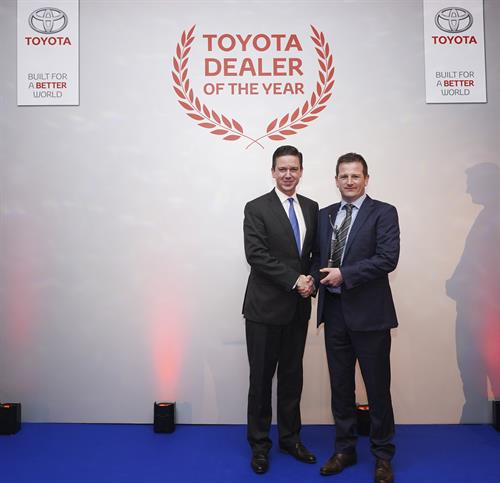 Ken Grandon Dealer Principal Grandons Toyota receives award from Toyota Ireland