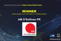 AM O'Sullivan PR wins PRCA Agency of the Year 2020