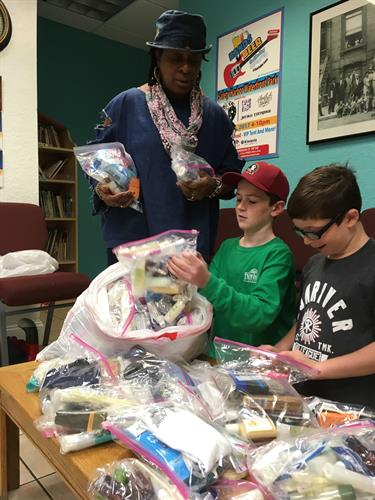 These boys decided they wanted to do something for the community, so they collected toiletries and donated them to us