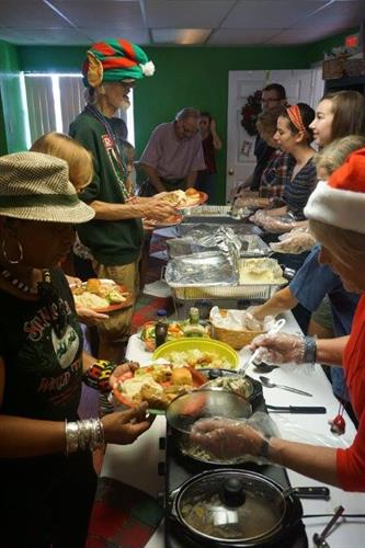 We prepare scrumptious community dinners at Thanksgiving and Christmas