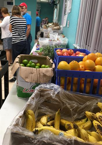 We provide fresh fruits and vegetables at our Food Pantry